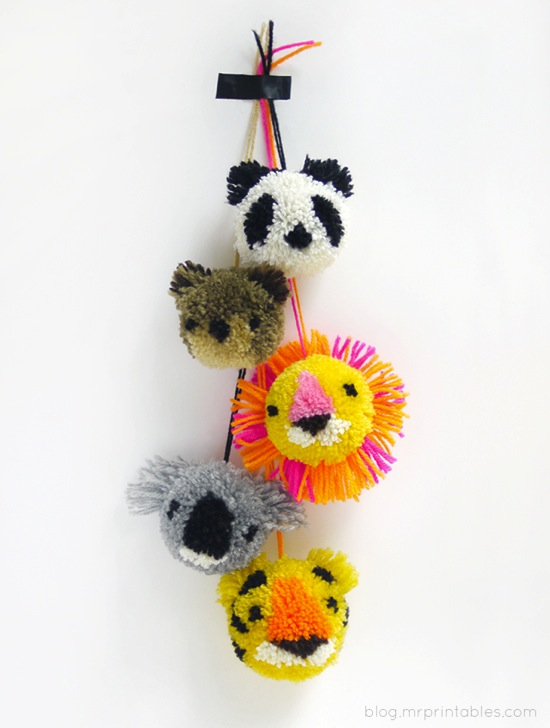 Animal Pom Pom Mr Printables