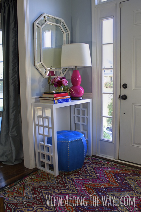 DIY Fretwork Console Table View Along the Way