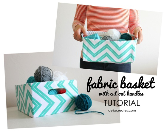 Fabric Baskets with Cut Out Handles Delia Creates