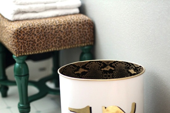 Trash Can Makeover Leopard and Plaid