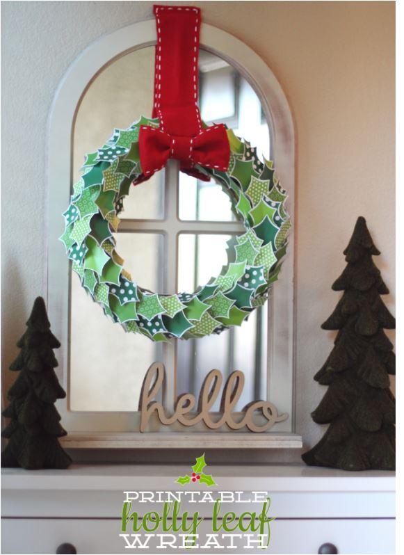 printable holly wreath