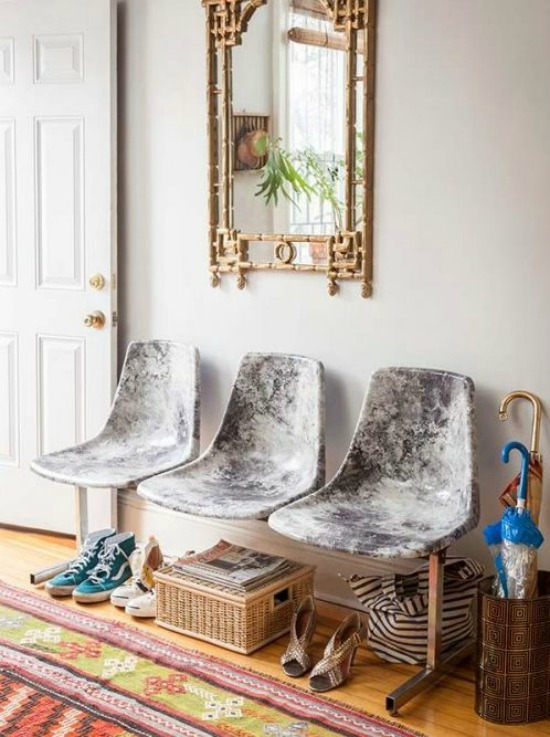 Decoupage Marble Fabric Chairs design sponge