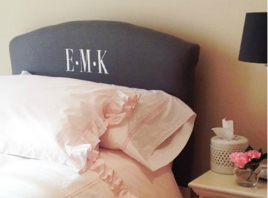 Upholstered Headboard with Monogram once again my dear irene