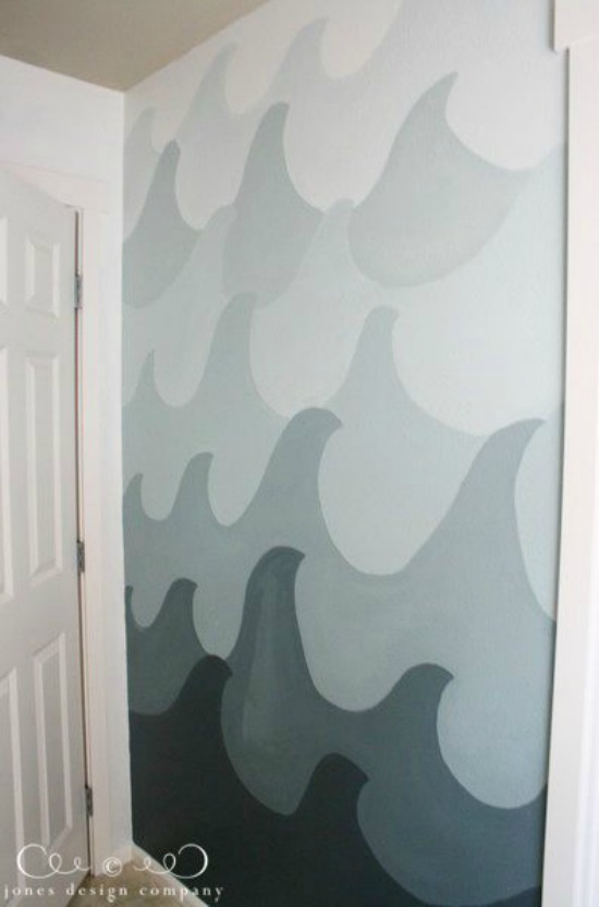 Ombre Painted Wave Wall jones design company